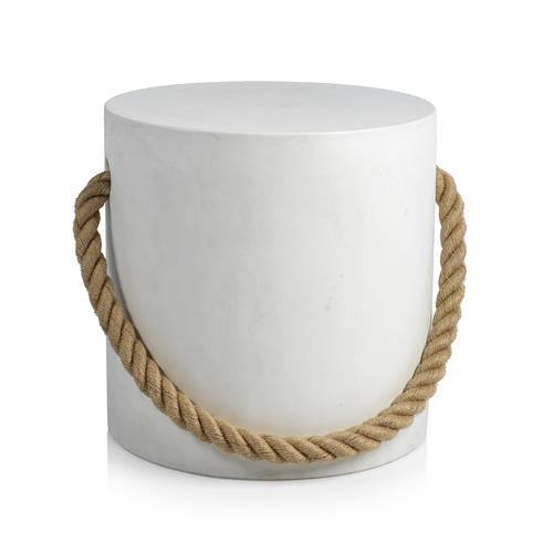 Marina Concrete Stool with Rope Accent - White