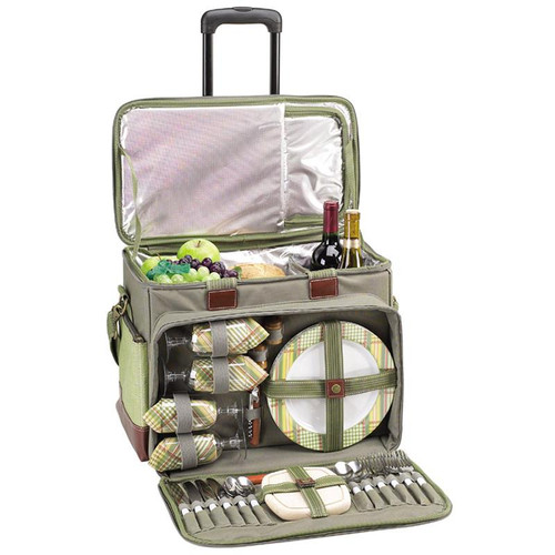 Deluxe Picnic Cooler for Four on Wheels | Hamptons Green