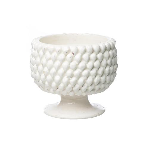 Vinci Pine Cone White Ceramic Planter, Small