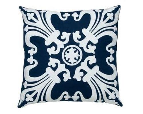 Blue Linen Creme Pillow