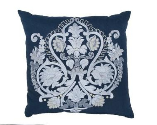 Blue Linen/Creme Pillow