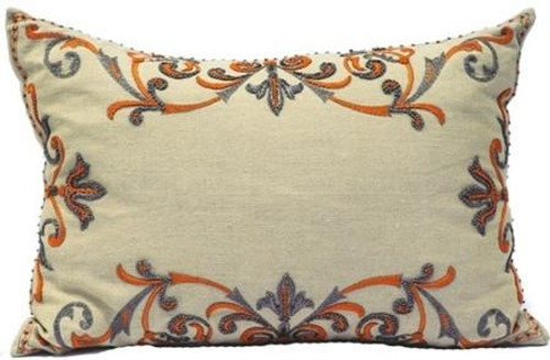 Orange - Natural Linen/Coral Embroidery