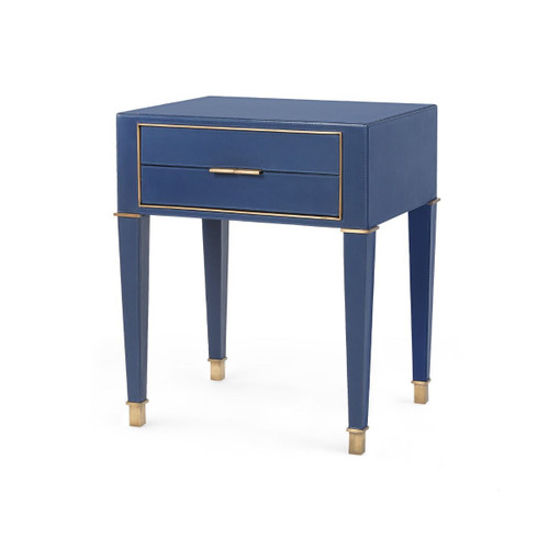 Hunter 2 Drawer Leather Side Table   Navy