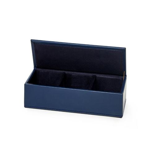 Hunter Leather Pin/ Clip Box   Navy
