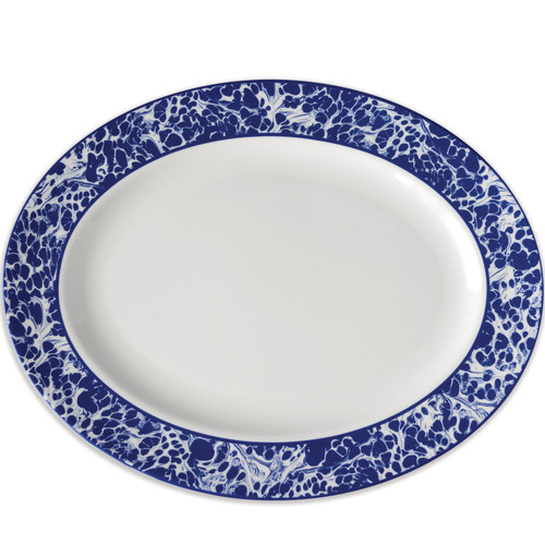 """Williamsburg Collection Blue Marble Large Oval Platter 16""""L"""
