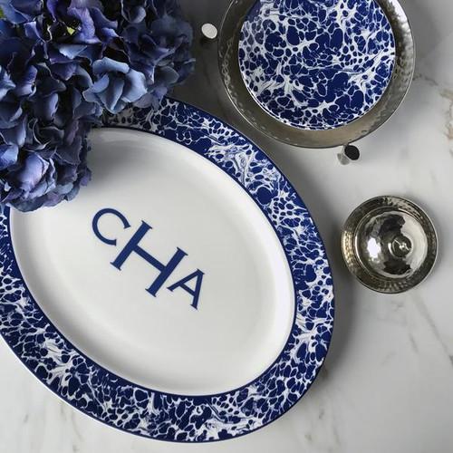 Monogrammed Blue Marble Large Oval Platte
