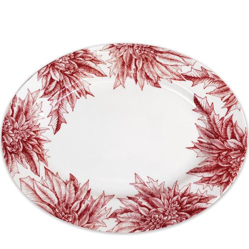 """Poinsettia Large Oval Platter 16""""L"""