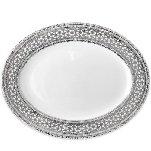 "Hawthorne Ice- Platinum Large Oval Platter 16""L"