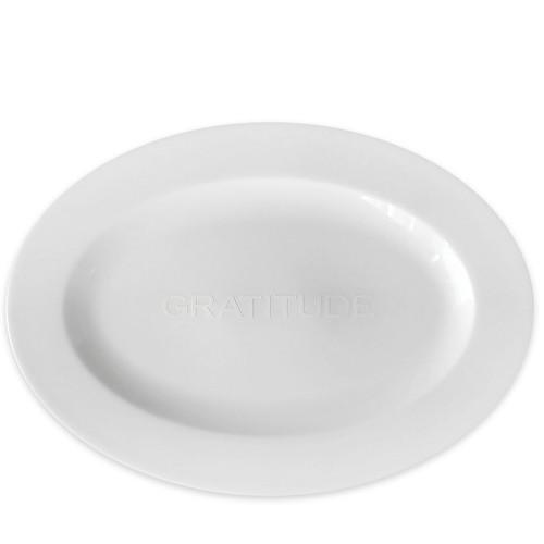 """Gratitude"" Embossed Medium Oval Platter 14"" L"