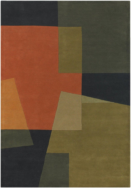 Bense Garza Hand Tufted Rug  Grey/Green/Orange