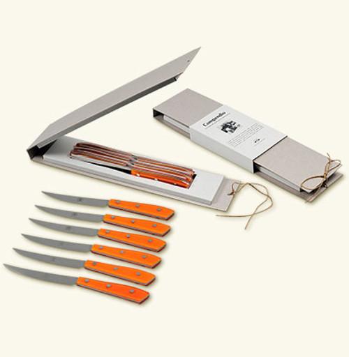 Lucite Compendio Steak Knife Set of 6 | Orange