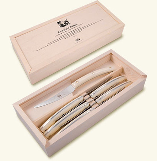 Set of 6 Convivio Nuovo steak knives with white Lucite handles