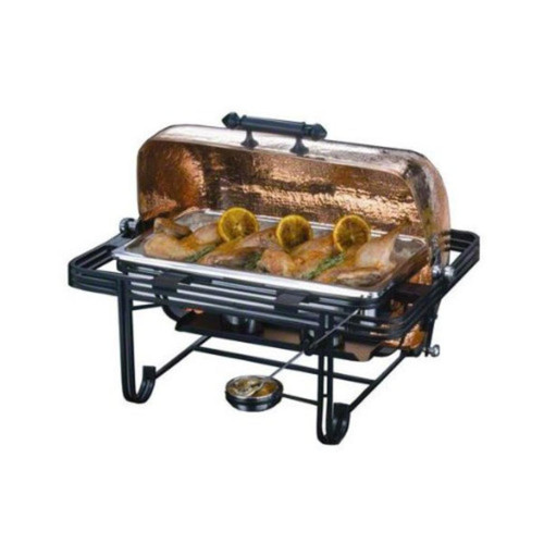 8 Qt. Rectangular Roll Top Chafer with Hammered Copper Cover