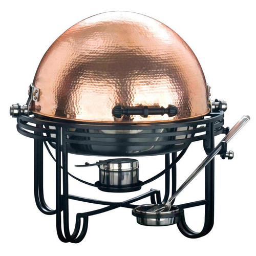 6 Qt. Round Roll Top Chafer with Hammered Copper Cover