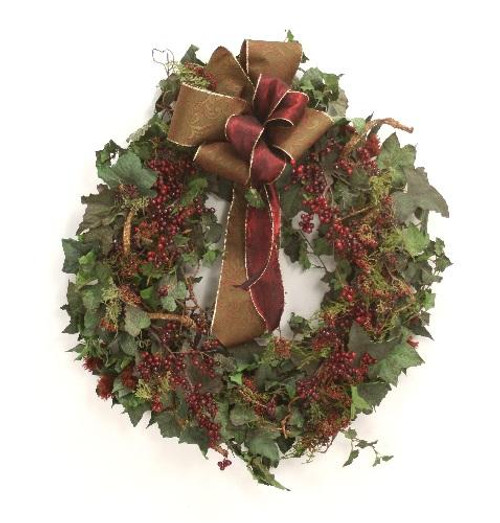 """27"""" Frosted Ivy Burgundy Berry Wreath"""