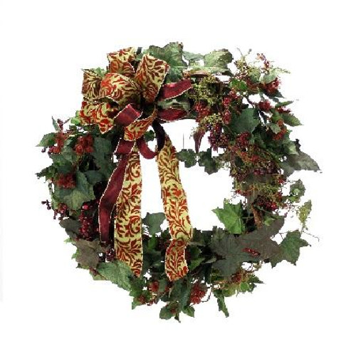 """27"""" Ivy Wreath with Burgundy Berries"""