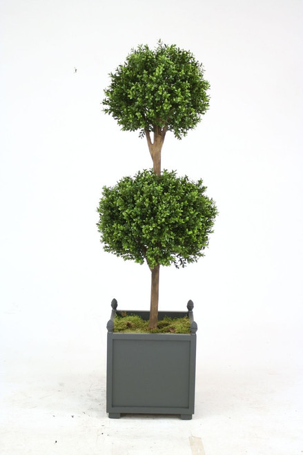 """60"""" Boxwood Double Ball Topiary in Gray Wooden Planter with Finials"""