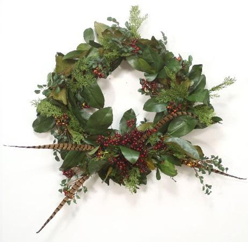 """30"""" Magnolia Foliage Wreath with Berries and Feathers"""