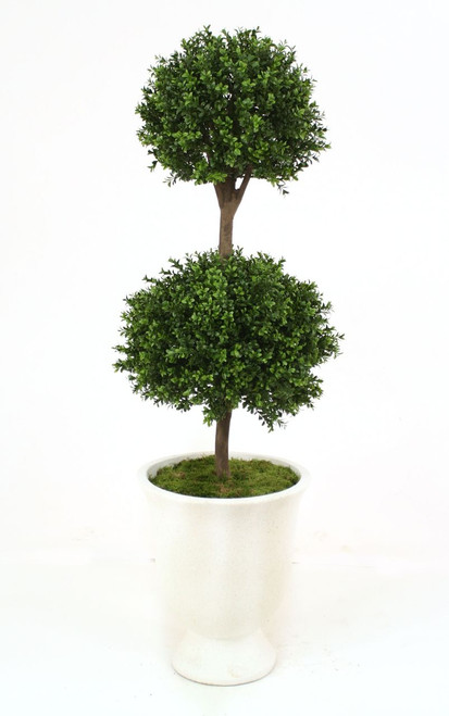 """63"""" Boxwood Double Ball Topiary in White Concrete Urn"""