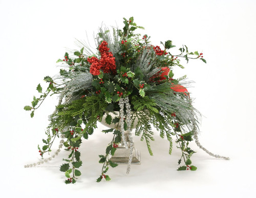 Holiday Greens Red Berries and Holly in a Silver Urn