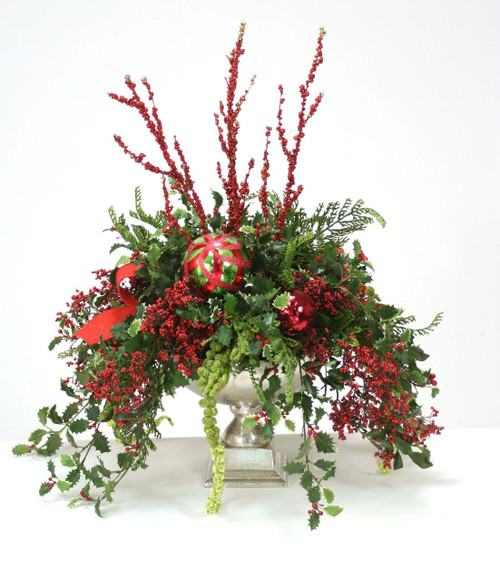 Holly, Berries and Red Glittered Branches in Silver Urn