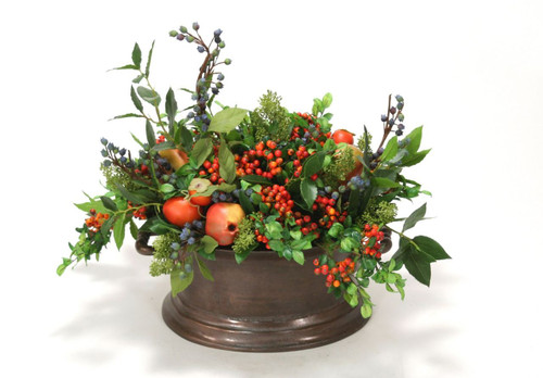Mixed Berries, Fruit and Greenery in Vintage Copper Newport Oval Planter