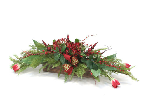 Red Agapanthus with Red Berries and Tulips in Stained Box