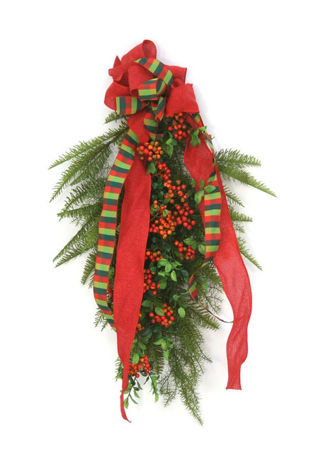Pair, Red Berries and Cedar with Plaid Ribbon Swags