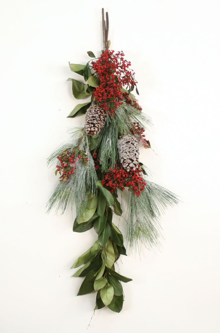 Red Berries, Pine Spray & Iced Pine Cones On Magnolia Garland