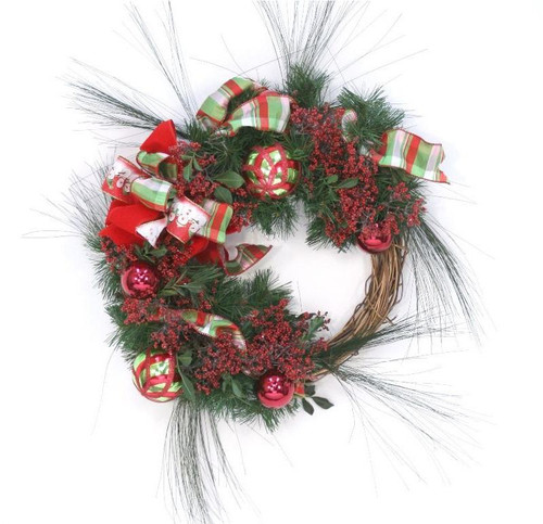 Wreath with Red Berries and Ornaments