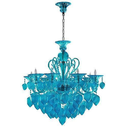 Bella Vetro Murano Glass 8 Light Chandelier   Aqua