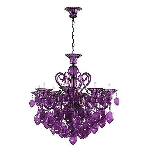 Bella Vetro Murano Glass 8 Light Chandelier   Purple