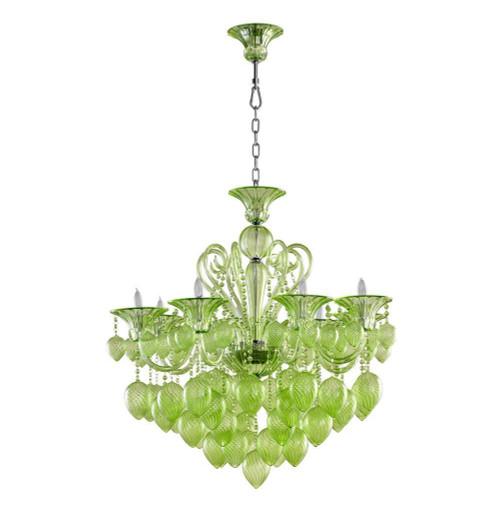 Bella Vetro Murano Glass 8 Light Chandelier   Green