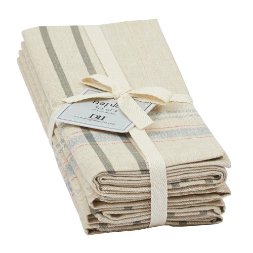 Natural French Stripe Napkin - Set of 4 by Design Imports