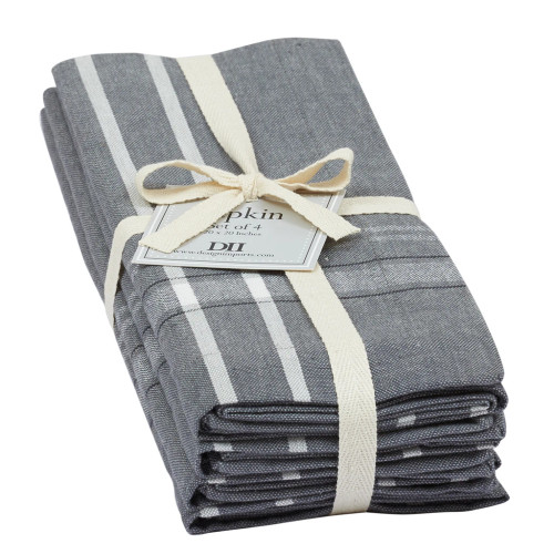 Gray French Chambray Napkin Set of 4 by Design Imports