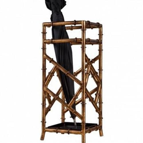 Antique Gold Iron Bamboo Umbrella Stand