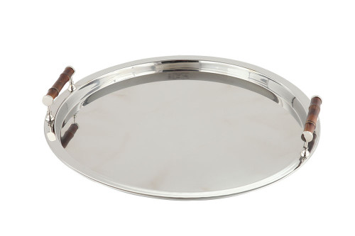 Nickel Round Tray with Bamboo Handles