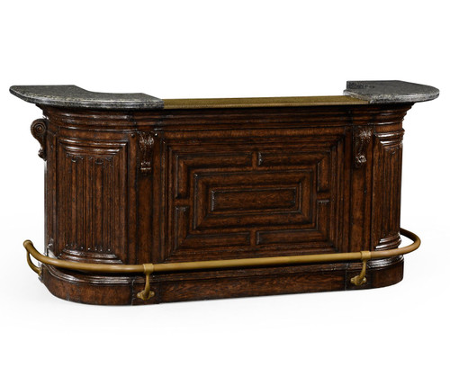 Linenfold Tudor Oak Home Bar