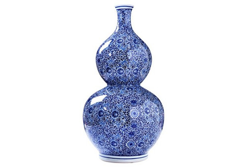 Blue and White Gourd Vase