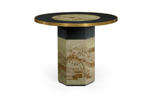 Round Chinoiserie Style Antique Etched Brass & Ebonised Oak Centre Table