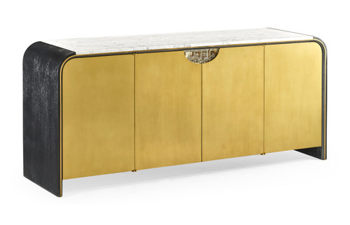Curved Ebonised Oak & Brass Sideboard with White Calcutta Marble Top