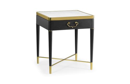 Square Ebonised Oak & White Calcutta Marble Lamp Table