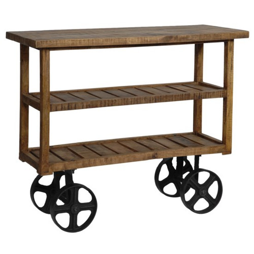 The Forge Mango Wood Industrial Cart