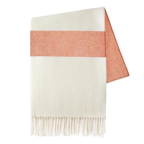 Sydney Herringbone Stripe Throw | Mandarin