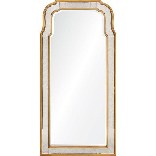 Antiqued Gold Leaf Queen Anne Mirror by Michael Smith