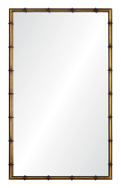Bamboo iron mirror finished in gold leaf by Barclay Butera