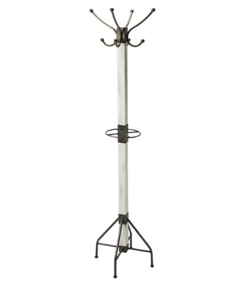 Logan Square Coat Rack in white and Iron