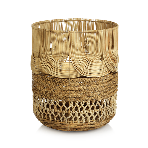 Malacca Multi-Weave Rattan and Water Hyacinth Basket