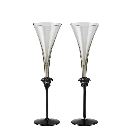 Champagne Flute, set of two, 12 inch, 6 ounce   Medusa Lumiere Haze