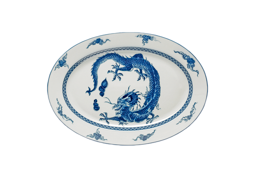 "Blue Dragon Oval Platter 13.75"""